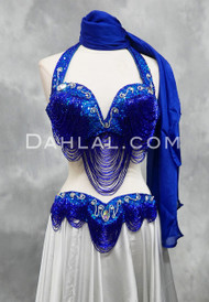 Great Loop Egyptian bra and belt set in royal blue