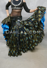 black peacock tribal skirt