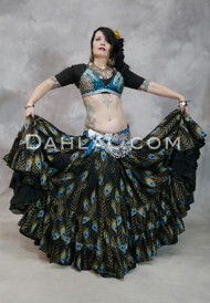 PEACOCK PERFECTION- Black, Extra Full Tiered Tribal Skirt