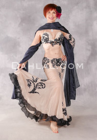 DESERT TWILIGHT Egyptian Costume - Black, Nude and Silver