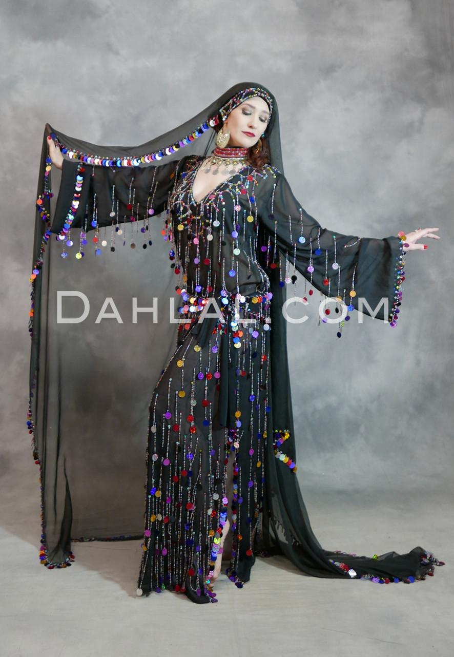 8db2450eaec0a Paillette Fringe Beledi Dress- Black, Gold & Multi- Color, by Rising Stars/  Dahlal
