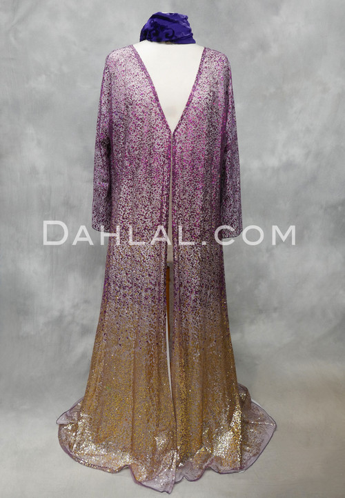 purple and gold abaya