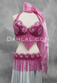 fuchsia and silver bra and belt set