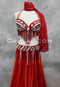 red and silver bra and belt set
