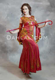 red Saidi belly dance dress