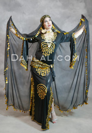 black Egyptian belly dance dress