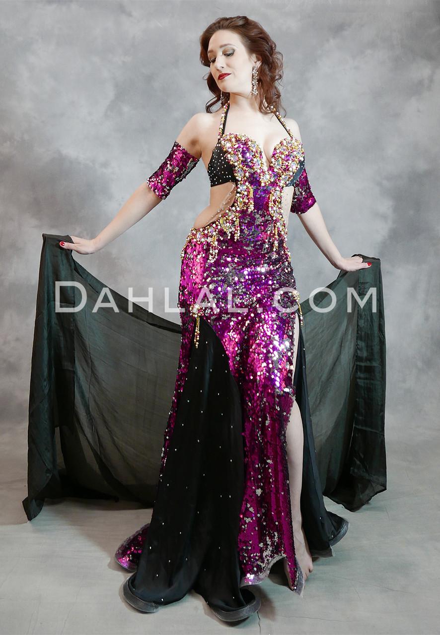 133a3c34b FUCHSIA FANTASY - Black, Fuchsia, Gold and Silver, Bra Size Small C #4,  Egyptian Belly Dance Dress - Dahlal Internationale Store