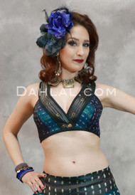 Faux Leather Trimmed Choli in Teal