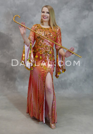 Coral Beaded Egyptian Belly Dance Dress