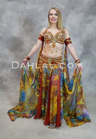 WILD VENUS Full Costume- Copper, Gold and Multi-color, Bra Size DD/E #7, by Pharaonics of Egypt