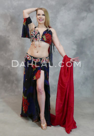 Midnight Blue and Red Full Beaded Egyptian Costume