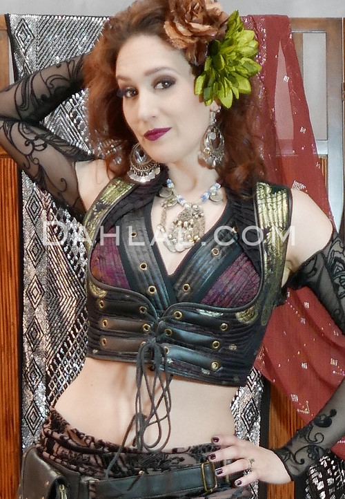 Twilight Tales Silk Brocade Vest with Faux Leather Trimmed Choli