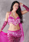 Fuchsia Beaded Belly Dance Bra and Belt Set
