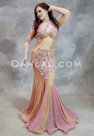 pink and nude Egyptian belly dance dress