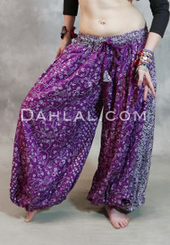 Magenta Cotton Printed Maharani Harem Pants