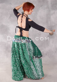 EARTHLY ESSENCE- Deep Green Printed Cotton Maharani Harem Pants