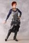 black and silver brocade dress