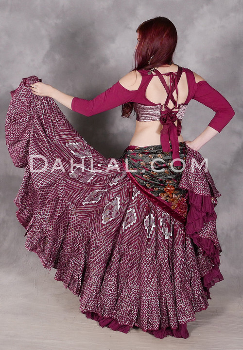 Wine Faux Assuit 25 Yard Tribal Skirt
