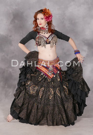 Temporarily Out Of Stock - Faux Assuit Tribal Skirt - Black and Gold