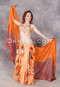 Complete view of Orange Spice beaded belly dance costume with gradient silk veil