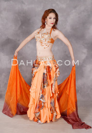 Full view of bright, flowing Orange Spice Egyptian belly dance costume