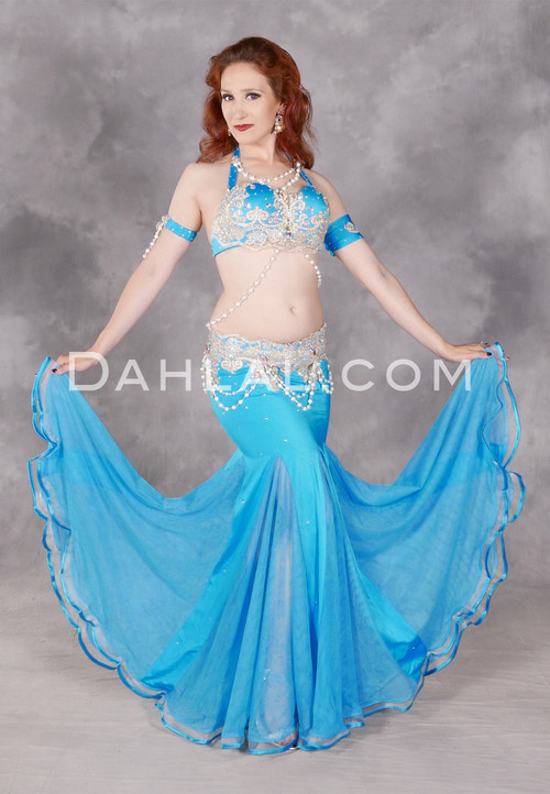 Front view of Radiant Oasis Egyptian belly dance costume from Dahlal Internationale