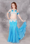 Model wearing medium blue and gold beaded belly dance costume