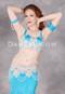 Close view of model wearing medium-blue belly dance attire
