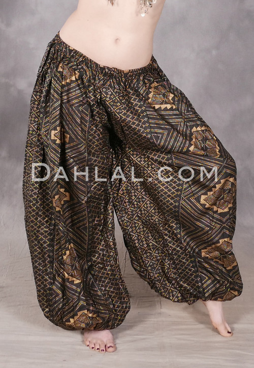Black and Gold Faux Assuit Harem Pants