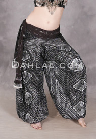 Black and Silver Faux Assuit Harem Pants