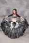 Full view of full-bodied belly dance attire in black and silver
