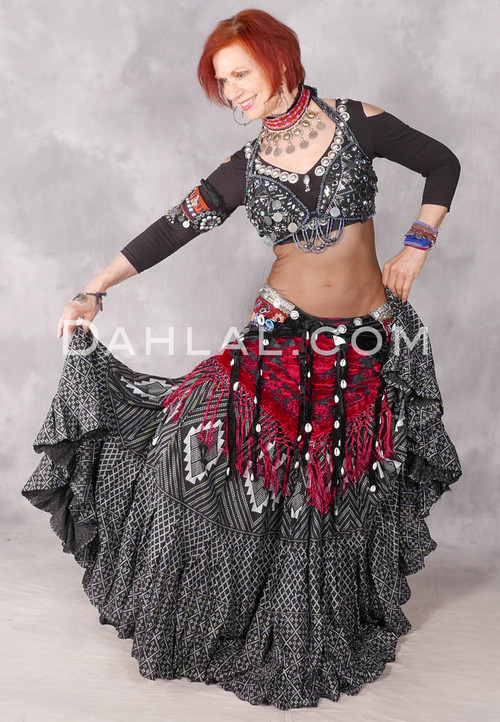 Faux Assuit Black and Silver Tribal Skirt