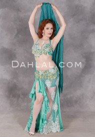 Front view of Satin & Lace Egyptian belly dance costume