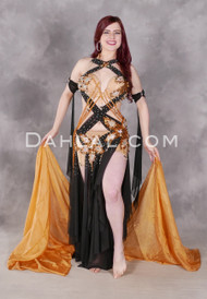Full view of sultry Golden Affair Egyptian belly dance costume