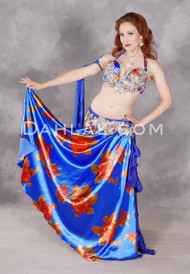 Flowing shot of royal blue Egyptian belly dance costume