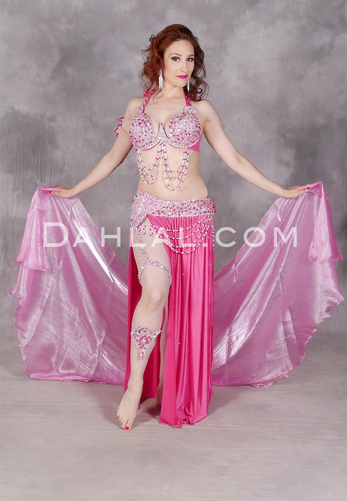 Front view of Crystal Charmer, a popular belly dance costume in pink