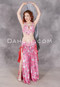 Center shot of model sporting pink floral belly dance costume from Dahlal Internationale