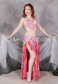 Model wearing Bed of Roses belly dance costume in pink