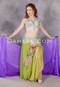 Egyptian belly dance costume in lime, olive, mint, and multi-color