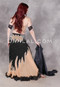 Side view of Egyptian stunning belly dance costume in black, beige, nude, and silver