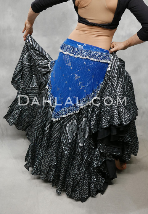 Royal Blue Beaded Assuit Hip Scarf
