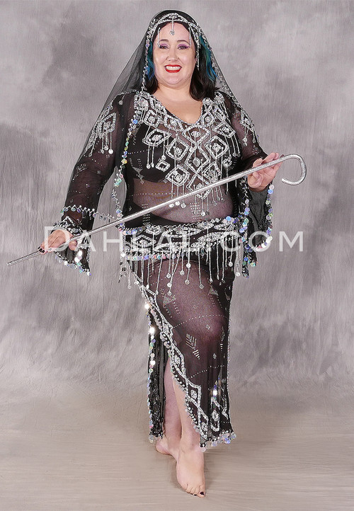 Black and Silver Egyptian Assuit Dress Shown With A Metallic Performance Cane