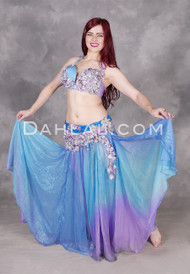 Blue and Lavender Gradient Beaded Egyptian Full Costume