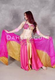 Summer Beauty Fuchsia and Gold Egyptian Beaded Costume
