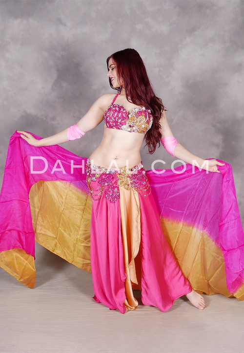 Summer Beauty Fuchsia and Gold Egyptian Beaded Costume