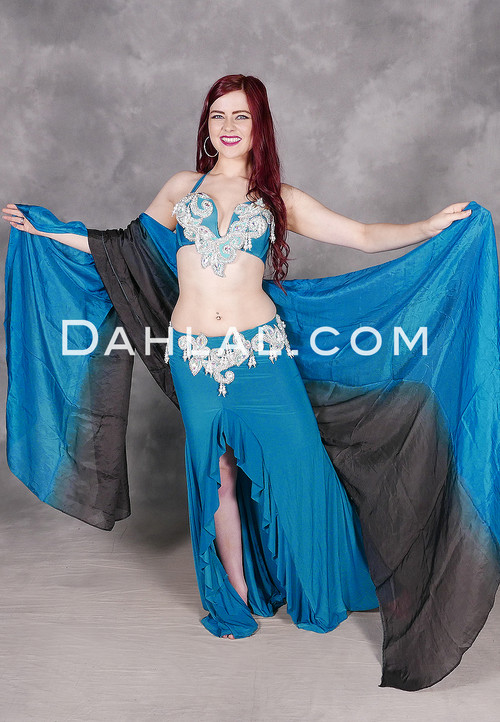 teal belly dance costume