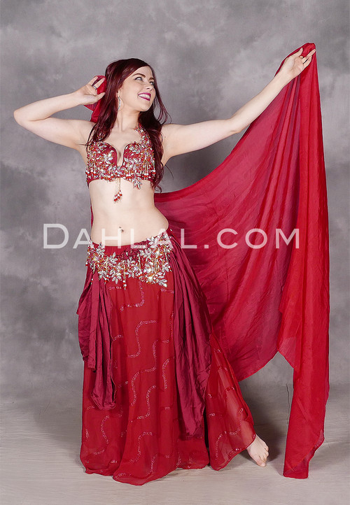 Wine Egyptian belly dance costume