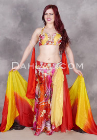 multi- colored Egyptian belly dance costume