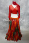red, olive and orange Egyptian belly dance skirt