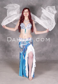 Turquoise and white Egyptian bellydance costume